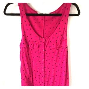 Pink polka dot Old Navy tank with buttons